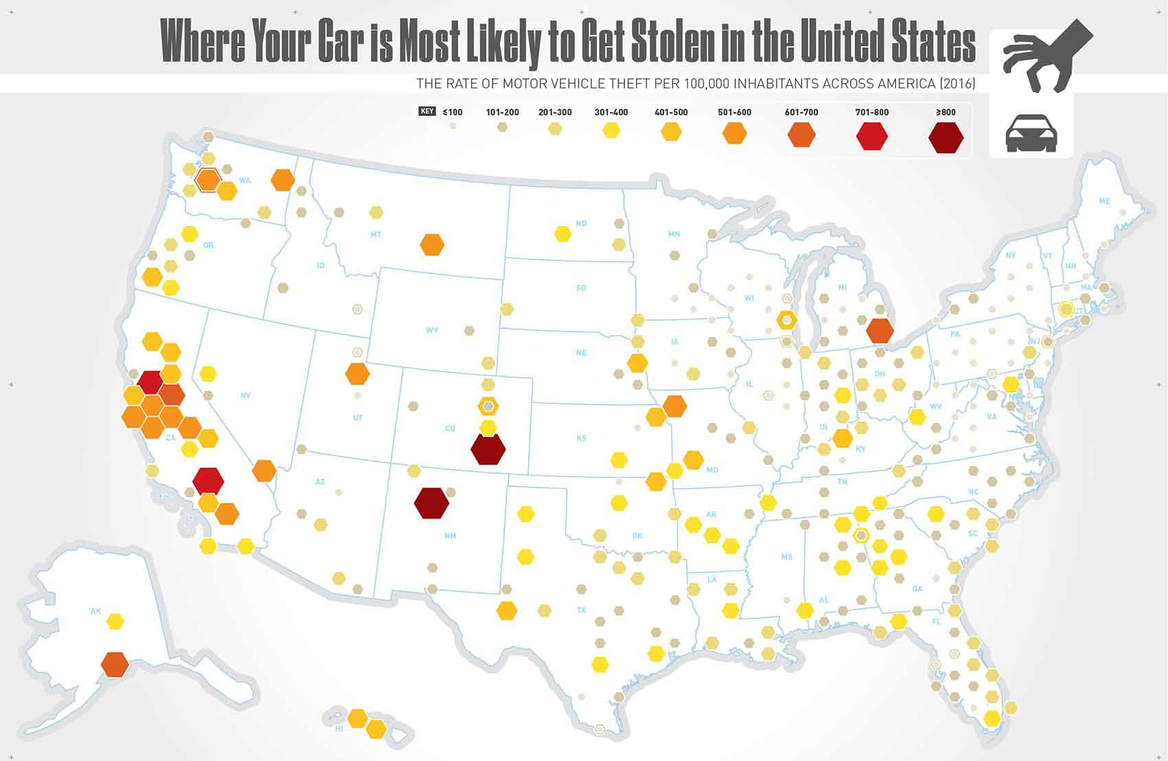Where Your Car is Most Likely to Get Stolen in the U.S.